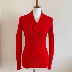 BURBERRY Matador Red Cashmere V-neck Sweater